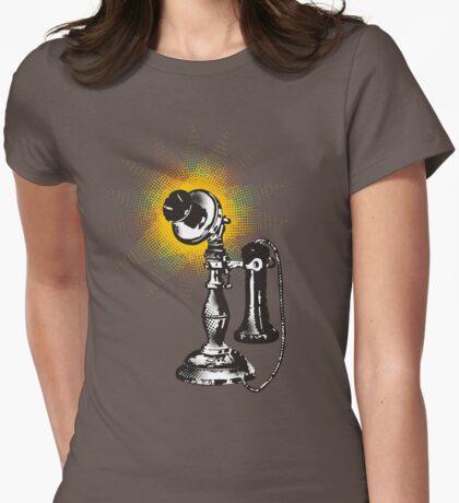 Vintage retro pop art phone telephone halftone burst Womens Fitted T-Shirt