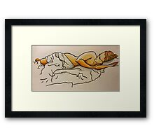 watching tv from bed Framed Print