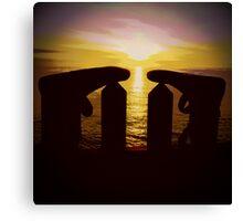 Surfers Silhouette Canvas Print