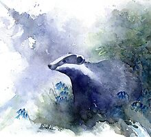 Water colour Badger by Ruth Nolan