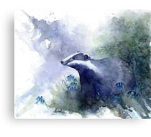 Water colour Badger Canvas Print