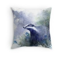 Water colour Badger Throw Pillow