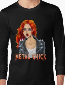 Metal Biker Chick Redhead Long Sleeve T-Shirt