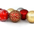 Shiny Christmas Glittered Ornaments - Gold Red by sitnica