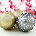 Shiny Christmas Glittered Ornaments - Gold Silver by sitnica