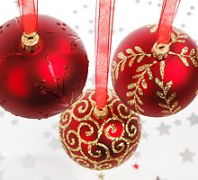 Christmas Shiny Glitter Ornaments Red Gold by sitnica