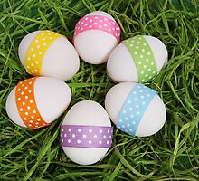 Easter Eggs Ribbons Dots Yellow Pink Purple Blue by sitnica