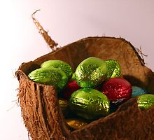 Foil Wrapped Shiny Easter Eggs Basket Green Red by sitnica