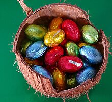 Foil Wrapped Shiny Easter Eggs Yellow Blue Green by sitnica