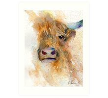 Watercolour Cow Art Print