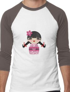 Pink Kokeshi Men's Baseball ¾ T-Shirt