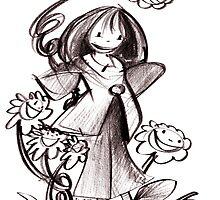 Little girl with flower by Luca Mesini