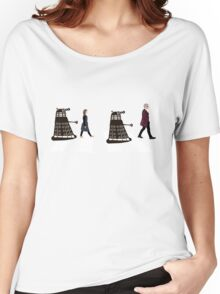 Doctor Who 12th Doctor, Clara and Daleks on Abbey Road Women's Relaxed Fit T-Shirt