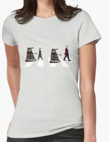 Doctor Who 12th Doctor, Clara and Daleks on Abbey Road Womens Fitted T-Shirt