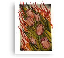 pink tulips in flames Canvas Print