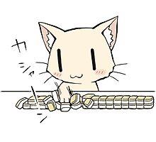 Cat playing Mahjong 2 Photographic Print