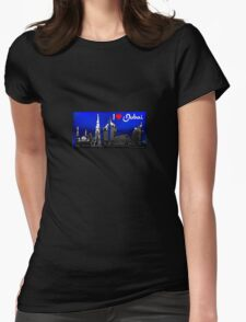 I Love Dubai, postcard (blue, white) Womens Fitted T-Shirt