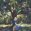 Anne painting under the trees by Terri Maddock