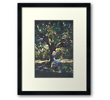 Anne painting under the trees Framed Print