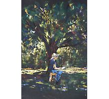 Anne painting under the trees Photographic Print