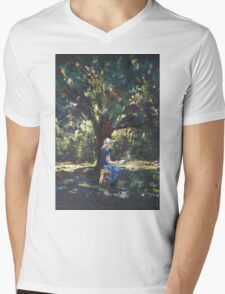 Anne painting under the trees Mens V-Neck T-Shirt