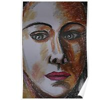 Portrait of a woman in oil pastels Poster