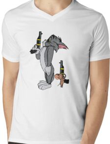Tom & Jerry Mens V-Neck T-Shirt