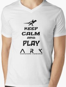 KEEP CALM AND PLAY ARK black Mens V-Neck T-Shirt