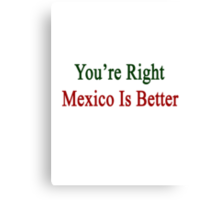 You're Right Mexico Is Better  Canvas Print