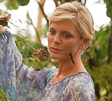 Emilia Fox in the butterfly dome at the RHS Hampton Court Flower Show 2013 by Keith Larby