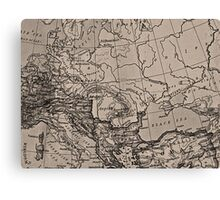 Old Map, Europe - Brown Black Gray Canvas Print
