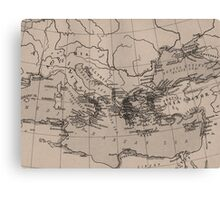 Old Map, Mediterranean Sea, Europe - Brown Black Canvas Print