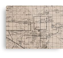 Old Map, Thma Puok District, Cambodia - Brown  Metal Print