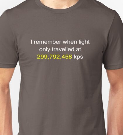 E=MC2  ?       Light Speed Tee (metric) Unisex T-Shirt