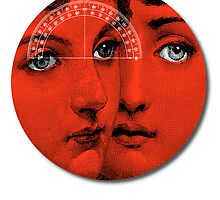 Lady Faces (Red) by Jovan Djordjevic