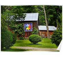 Two Barns with Quilt Decor Poster