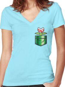 Mario - Piranha Plant Pocket Women's Fitted V-Neck T-Shirt