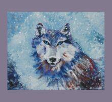 Snow Wolf - Animal Art by Valentina Miletic Kids Tee