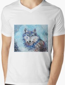 Snow Wolf - Animal Art by Valentina Miletic Mens V-Neck T-Shirt