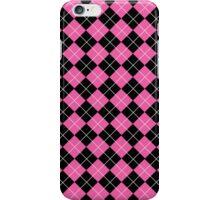 Pink and Black Argyle Plaid Checks Pattern iPhone Case/Skin