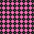 Pink and Black Argyle Plaid Checks Pattern by ArtformDesigns