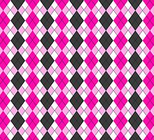 Pink and Grey Funky Argyle Plaid Checks Pattern by ArtformDesigns