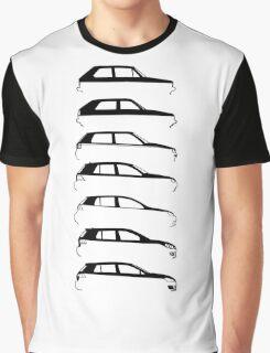 Silhouette Volkswagen VW Golf Mk1-Mk7 Right Graphic T-Shirt