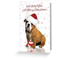 Bulldog Christmas Greeting Card Greeting Card