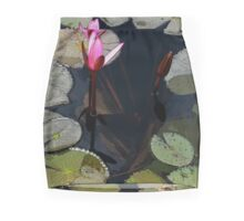 Pink water lilly buds. Mini Skirt