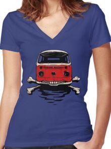 Bus & Crossbones Women's Fitted V-Neck T-Shirt