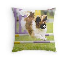 Papillon Agility Dog Throw Pillow