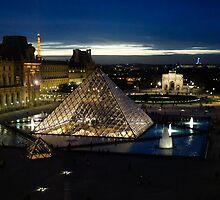 Paris - Louvre Pyramid at Night by Georgia Mizuleva