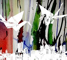 Origami Birds on Ink #2 by roseanniewade