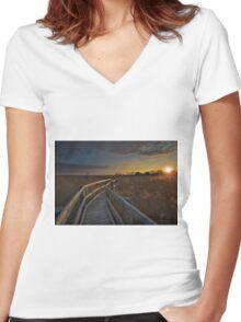 Breathtaking Sunset  Women's Fitted V-Neck T-Shirt